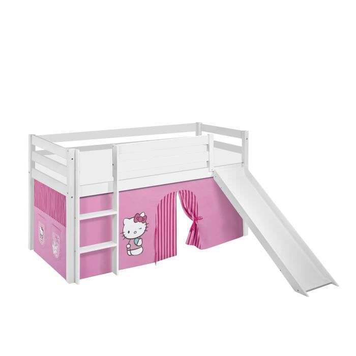 lit sur lev ludique jelle 90 x 190 cm hello kitty rose avec rideaux et toboggan lilokids. Black Bedroom Furniture Sets. Home Design Ideas