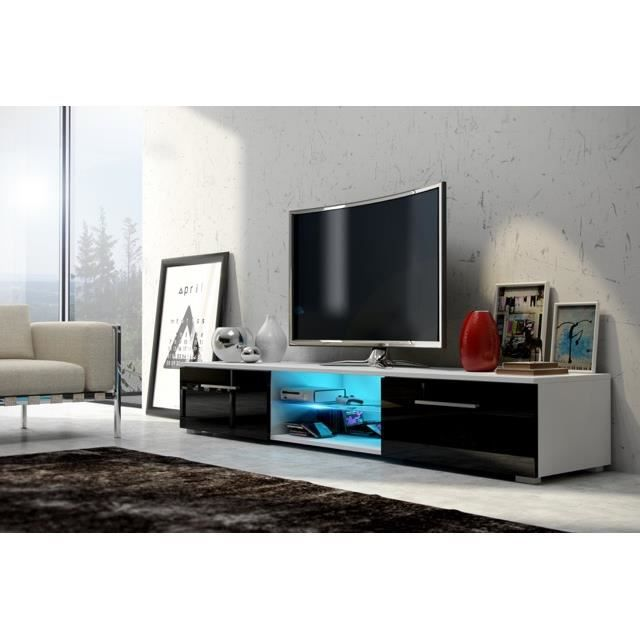 meuble tv edith led blanc mat noir brillant livraison gratuite achat vente meuble tv. Black Bedroom Furniture Sets. Home Design Ideas