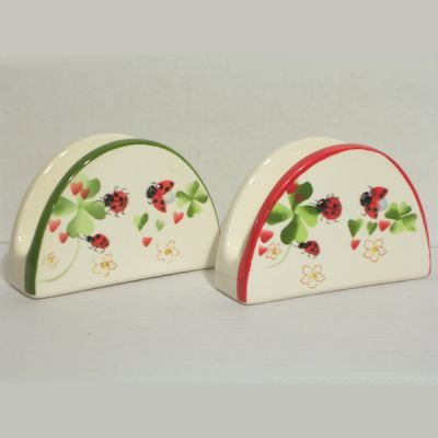 Porte serviettes de table faience d cor coccinelle achat for Decoration porte serviette