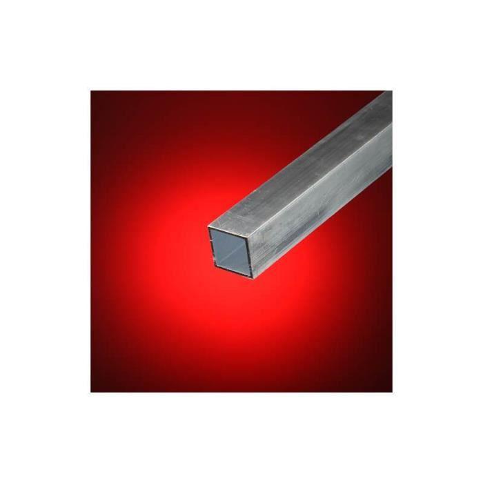 Tube Aluminium Carré 20mm x 20mm Epaisseur 2mm Longueur de 1 mètre Lot De 2