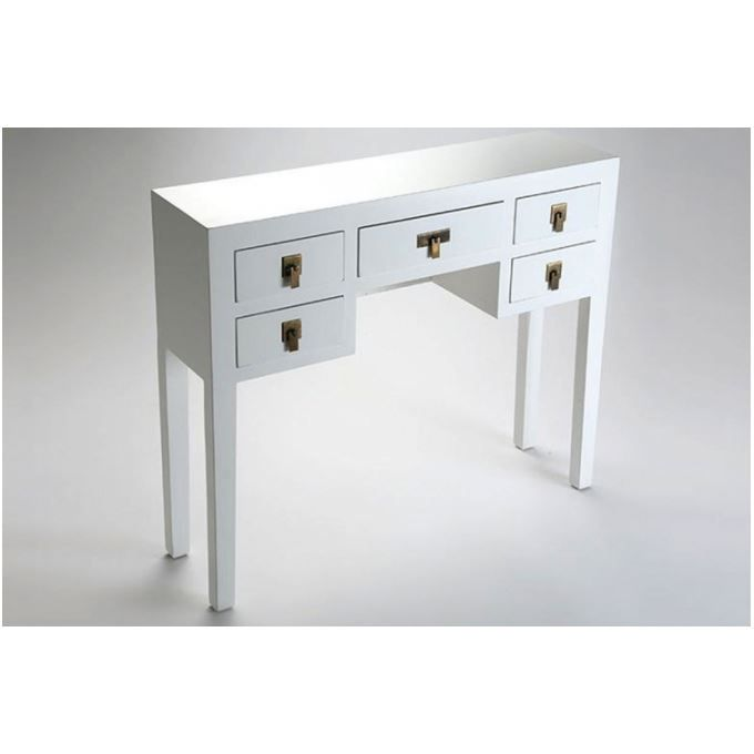 console design en bois blanc 5 tiroirs anais achat. Black Bedroom Furniture Sets. Home Design Ideas