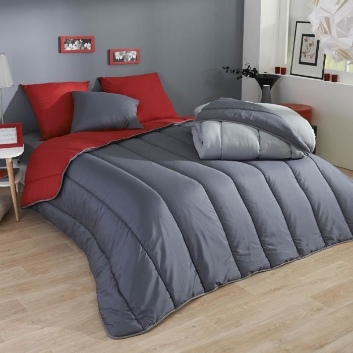 couette microfibre bicolore 220x240 rouge gris achat. Black Bedroom Furniture Sets. Home Design Ideas
