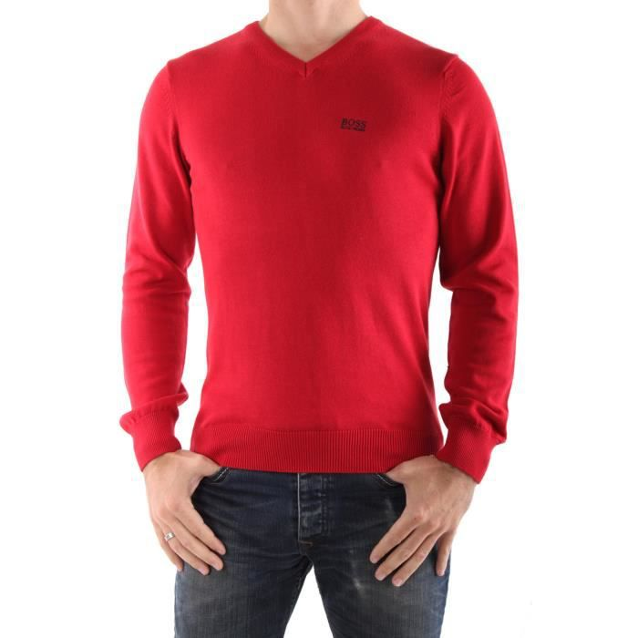 Pull Hugo Boss Tee Col V Rouge Rouge - Achat   Vente pull - Cdiscount 9c5b3de9cd0d