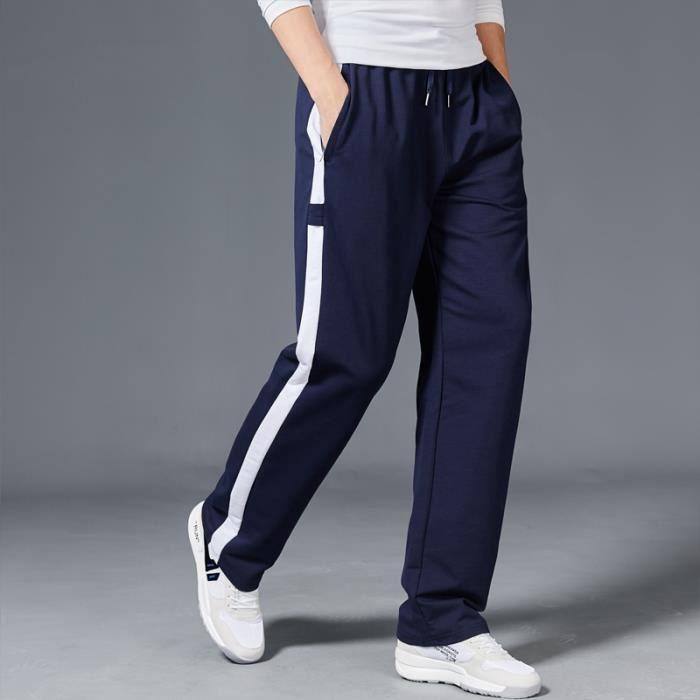 Jogging Pantalon de sport homme coton rayure hiphop baggy gym pantalon à taille élastique masculin survêtement sportswear