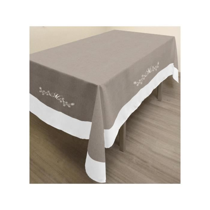 nappe rectangle brod anti t ches en coton 140x300 cm melanie taupe achat vente nappe de. Black Bedroom Furniture Sets. Home Design Ideas