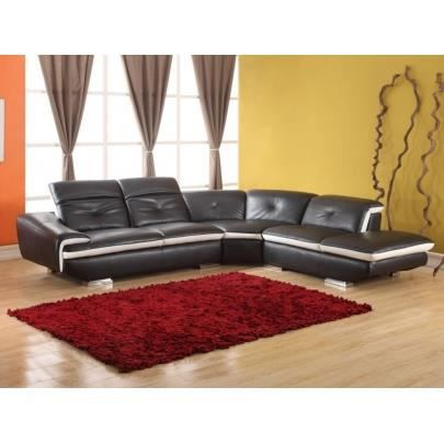 canap d 39 angle en cuir lomande noir angle droi achat vente canap sofa divan cuir. Black Bedroom Furniture Sets. Home Design Ideas