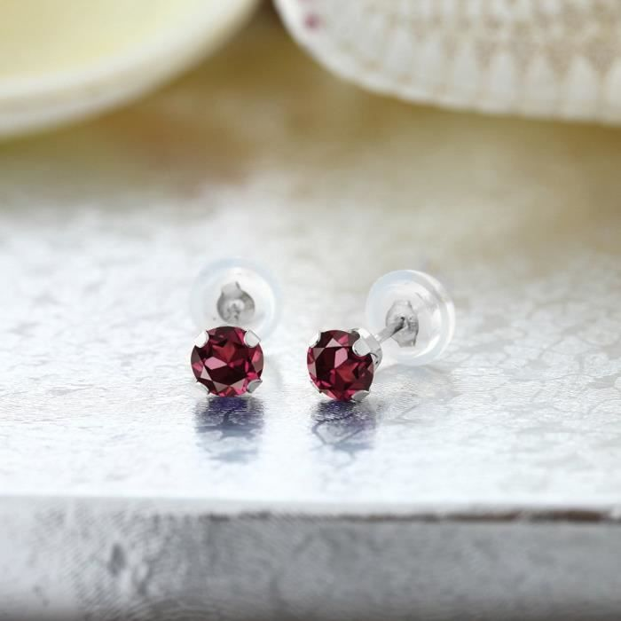 Womens 0.74 Ct Round 4mm Red Rhodolite Garnet 14k White Gold Stud Earrings PJZDG