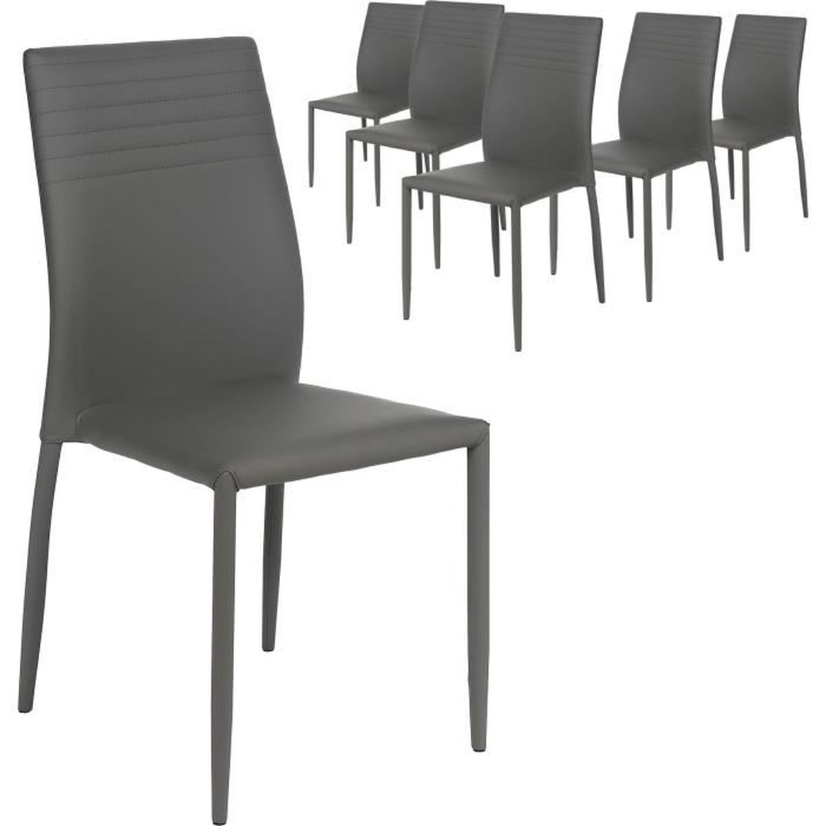 Lot de 6 chaises empilables en coloris gris gris achat for Chaises empilables