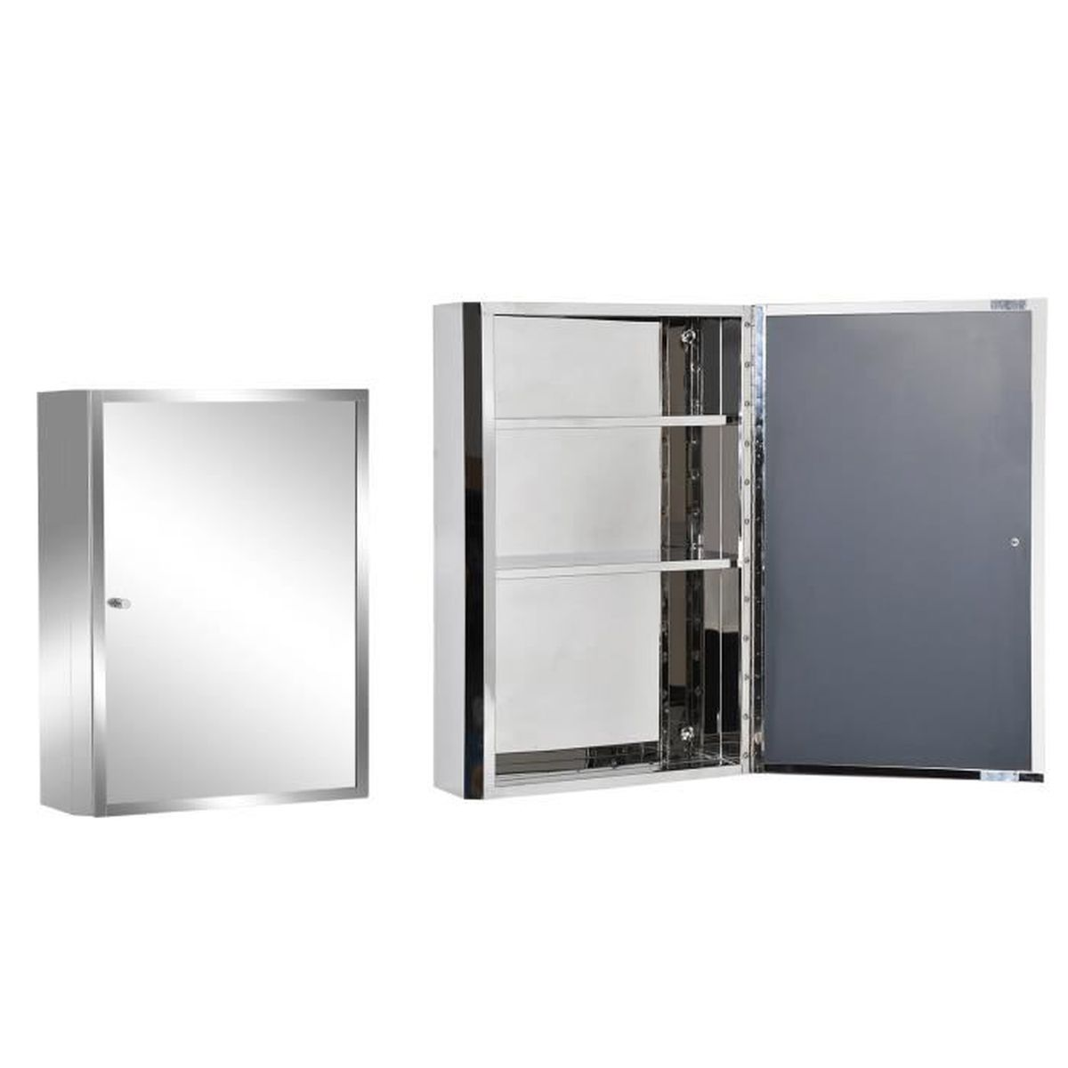 armoire de salle de bain toilette murale miroir avec porte 3 etages acier inox 40l x 13l x. Black Bedroom Furniture Sets. Home Design Ideas