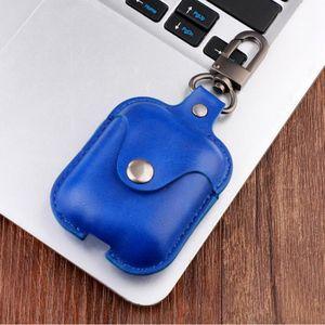 CASQUE - ÉCOUTEURS Bleu Étui de recharge en cuir PU pour Apple AirPod