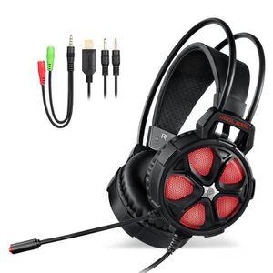 CASQUE AUDIO ENFANT Rouge noir câblé au-dessus du casque stéréo gaming