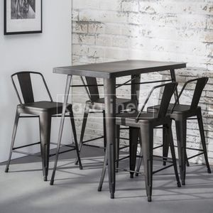 tabouret de bar industriel lot de 4 achat vente pas cher. Black Bedroom Furniture Sets. Home Design Ideas