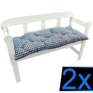 COUSSIN D'EXTÉRIEUR 2x Coussins pour banc 110x50x8 cm CARRÉS BLEUS – C