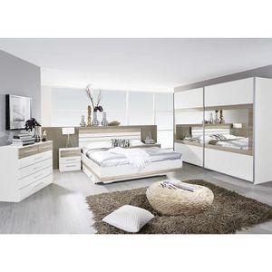 Chambre adulte complète contemporaine blanche-chêne clair ...