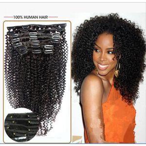 PERRUQUE - POSTICHE Extensions de cheveux humains à clips Kinky curly