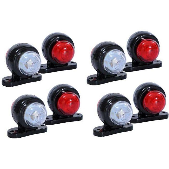 8 X 12V 24V Rouge Blanc Petit LED Feux de Gabarit Camion Caravane Remorques