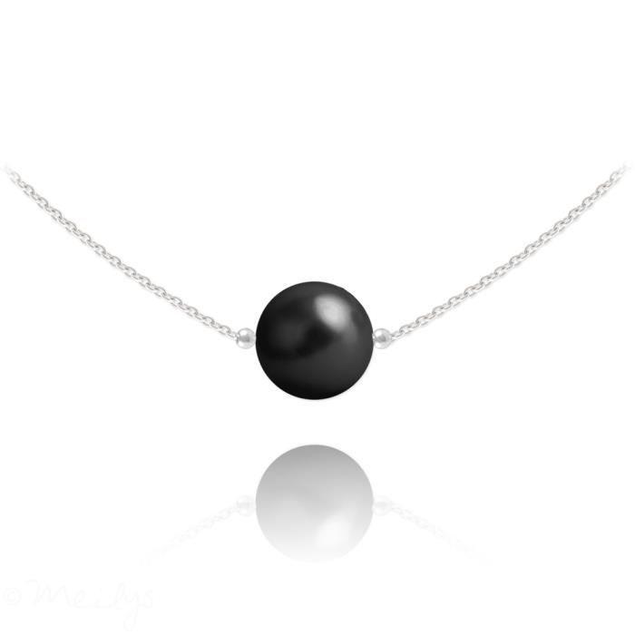 Collier perle noire nacrée, chaine argent massif 925°°°