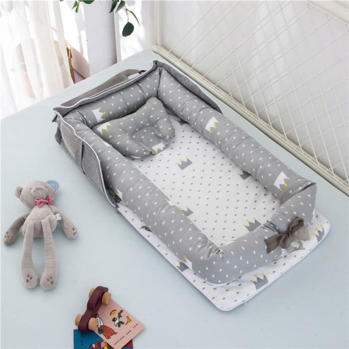 Lit Bébé Portable en Coton Reducteur de lit Pliable Nid pour nouveau-né nourrisson de voyage Lavable Berceau 0-2 Ans, Gris Couronne