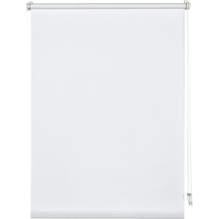 Deco Company Store Enrouleur agrave clipser ou agrave coller Store de jour Opaque Kit de montage inclus Single Clamp Blanc 61