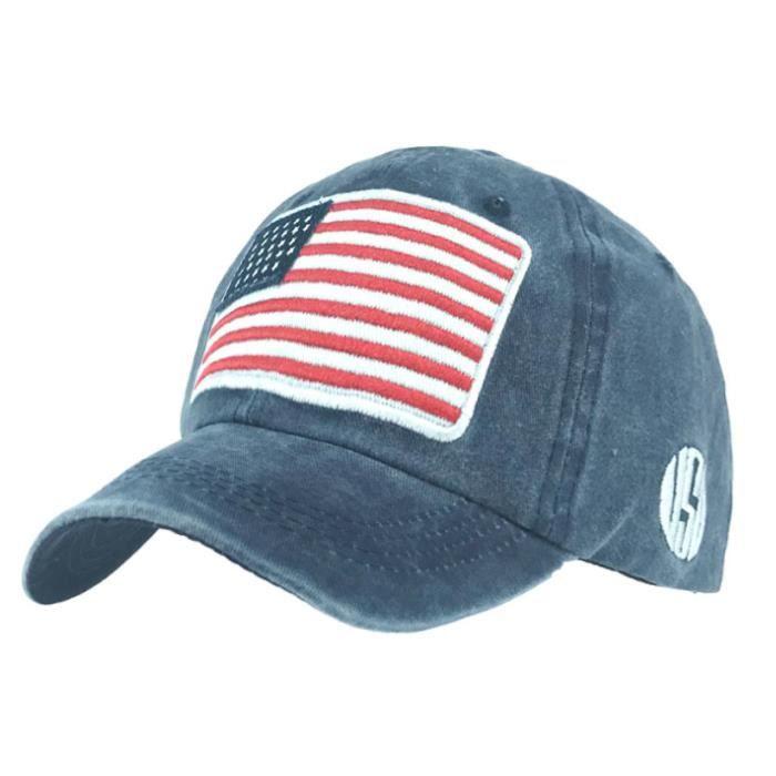 Chapeau lavé vieilles lettres casquette de baseball sauvage tendance hommes et femmes chapeau de coton drapeau américain