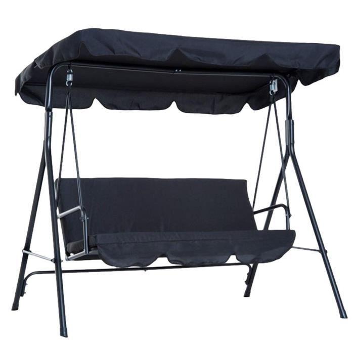 Canopée pour Balancelle Exterieur Imperméable Résistant Soleil Toit de Rechange pour Jardin ou Patio (Noir - Trois places)
