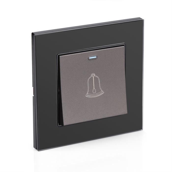 Le bouton poussoir sans fil carillon CA de commutateur de sonnette de panneau de verre trempé de 220~250V pour l'hôtel à la