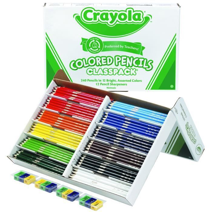 Crayola Crayon de couleur en vrac, 240 Nombre Classpack, 12 couleurs assorties HYUCU