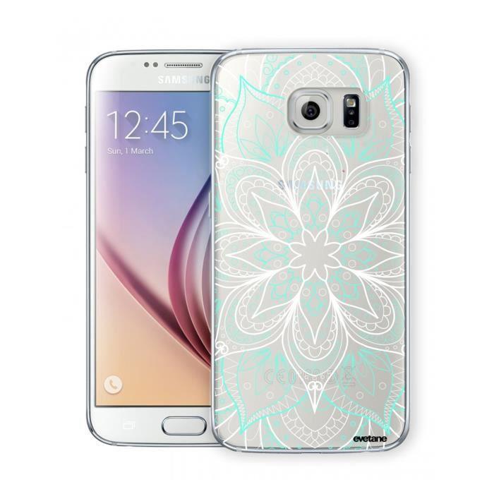 Coque Samsung Galaxy S6 Edge rigide transparente Mandala Turquoise Ecriture Tendance et Design Evetane