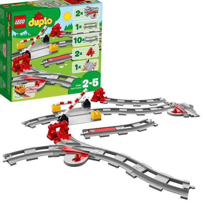 LEGO® 10882 DUPLO Town Les Rails du Train Jeu de Construction, Circuit avec Brique d'Action Rouge pour Enfants de 2 - 5 ans_x000D_