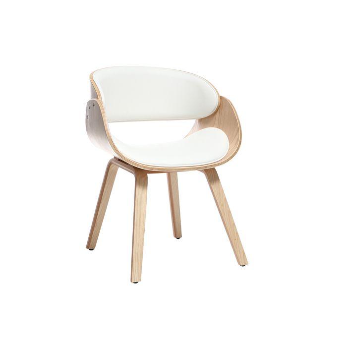 Miliboo - Chaise design blanc et bois clair BENT