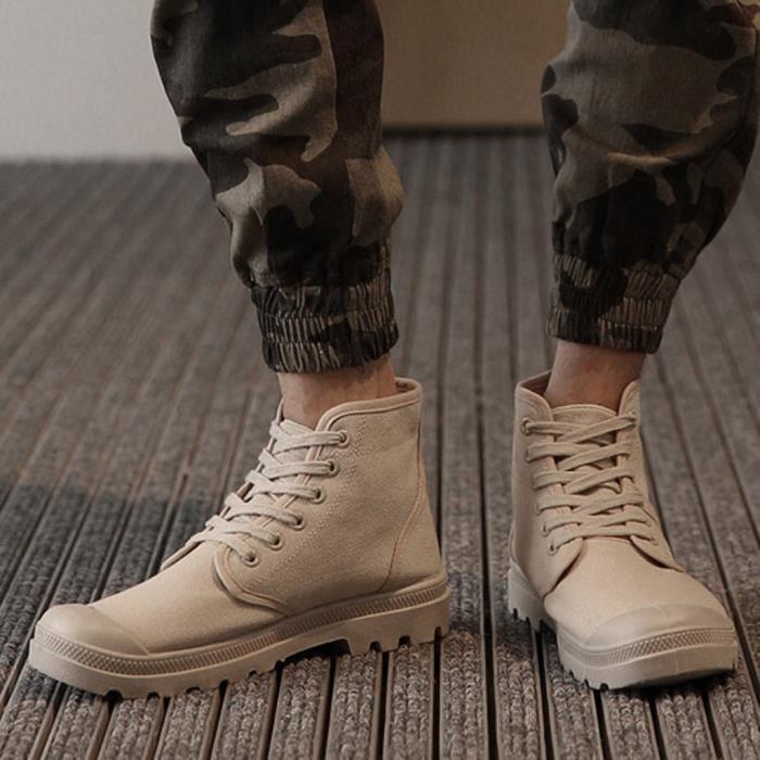 Hommes Casual Haut-Top à lacets en toile Chaussures étudiants Classique Non-Slip Chaussures de randonnée Beige