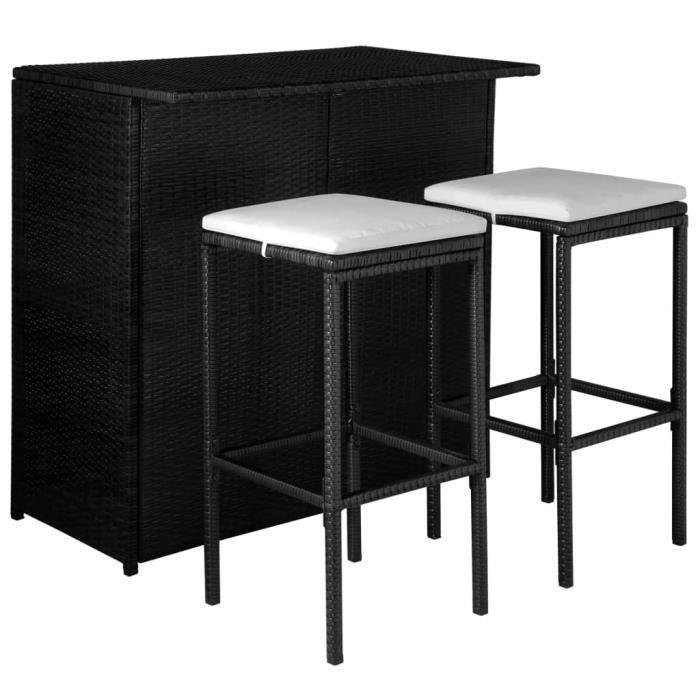 Moderner Mobilier de bistro 3 pcs:1 x table de bar+2 x tabouret de bar avec coussins Résine tressée Noir