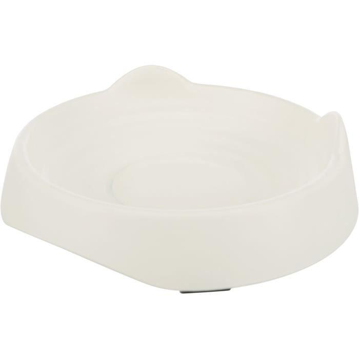 TRIXIE Gamelle plate tête de chat en mélamine - 0,25 l - Ø 17 cm - Blanc - Pour chien