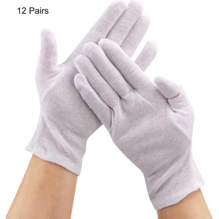 VINGVO Gants de coton 12 Paires Gants de Protection de Coton pour Usage des Travaux Ménagers Agricoles Industriels(Blanc )