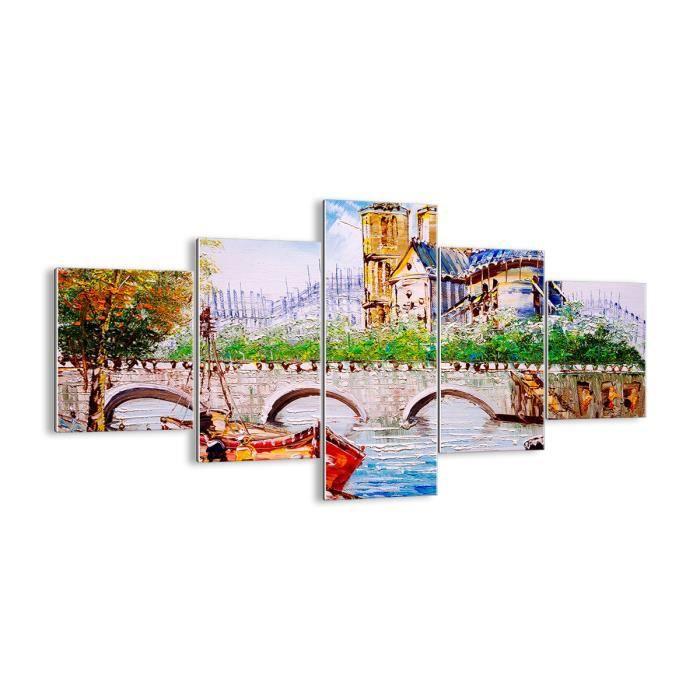 Pret a accrocher Impression sur Verre Plusieurs /él/éments Tableau en Verre Image sur Verre GEA125x70-3056 125x70cm 3056 Tableaux pour la Mur Moderne prete a Suspendre 5 Parties