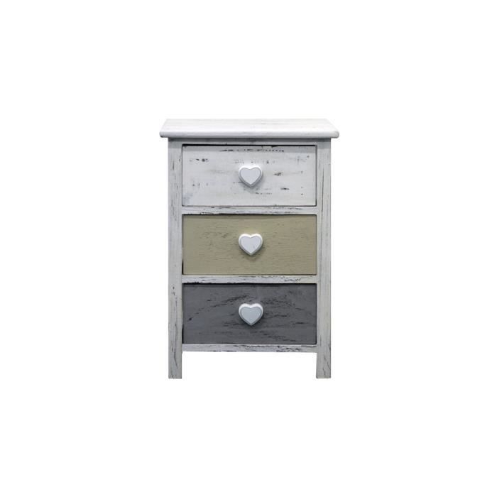 chevet meuble de rangement 3 tiroirs romantica bois blanc gris jaune bain hall achat vente. Black Bedroom Furniture Sets. Home Design Ideas