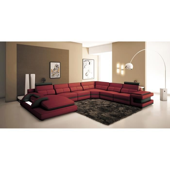 canap d 39 angle panoramique design cuir rouge et noir achat vente canap sofa divan. Black Bedroom Furniture Sets. Home Design Ideas