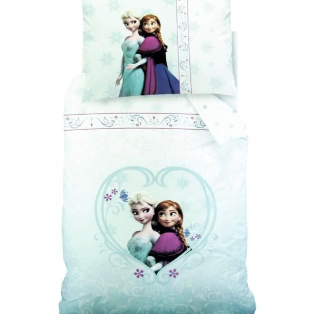 literie frozen reine des neiges elsa et anna housse de couette taie d 39 oreiller achat. Black Bedroom Furniture Sets. Home Design Ideas