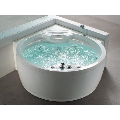 bain remous rond florence baignoire d 39 angle avec 14 jets chauffage ozone cascade. Black Bedroom Furniture Sets. Home Design Ideas