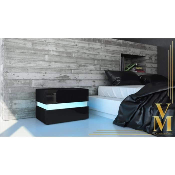 table de chevet noire 60 cm achat vente chevet table de chevet cdiscount. Black Bedroom Furniture Sets. Home Design Ideas