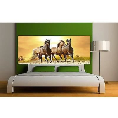 Sticker t te de lit d coration murale chevaux r f 3654 5 for Decoration murale pour tete de lit