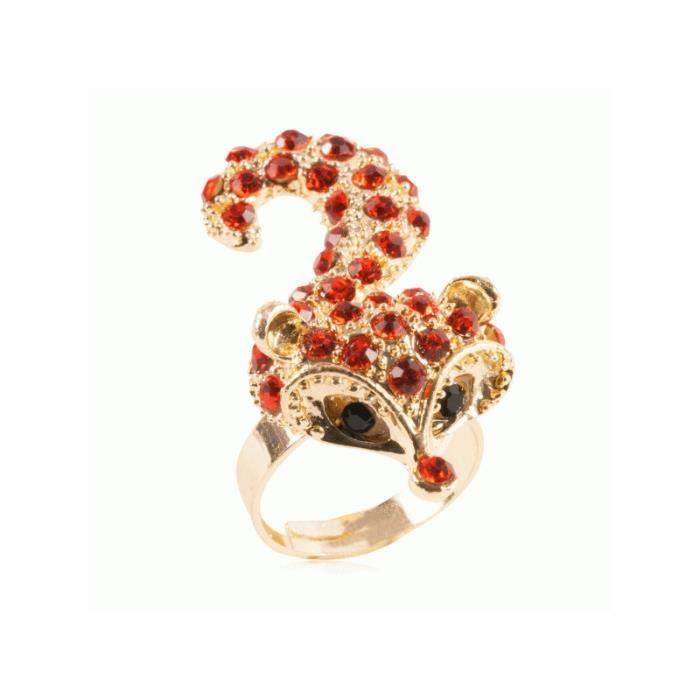 Bague femme en alliage foncé avec fleur sertie de cristaux rouges très belle