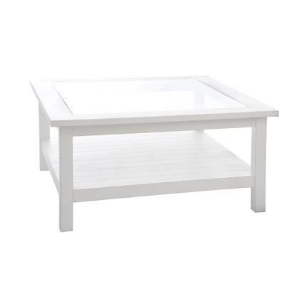 table basse carr e en verre et bois coloris blanc achat. Black Bedroom Furniture Sets. Home Design Ideas