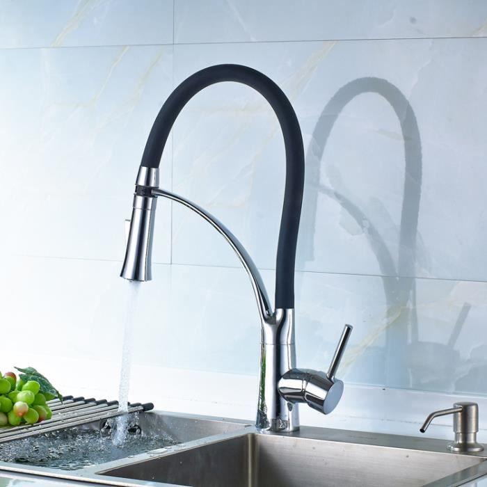 robinet de cuisine mitigeur pour evier bec pivotant tuyau souple en silicone noir extractible chrome a bras rotatif