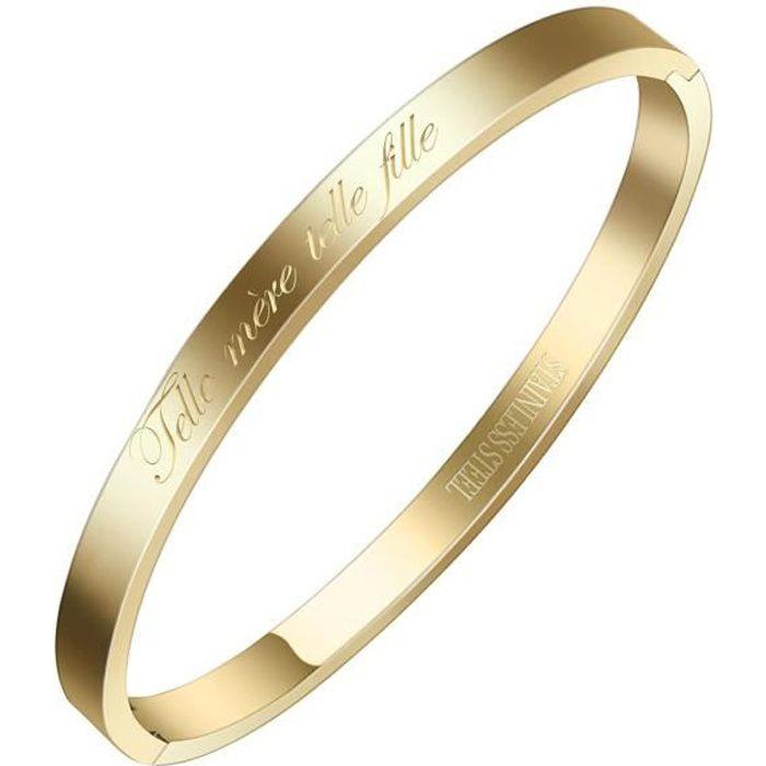 AURSTORE/® Bracelet Jonc Fin en Acier Inoxydable 316L avec Message Telle m/ère telle Fille 4 mm Couleurs au Choix