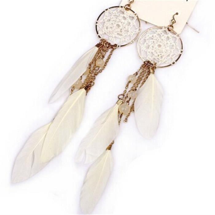 Nouveau plumes perles Bohême longue DESIGN VINTAGE Dream Catcher Boucles D/'oreilles Bijoux