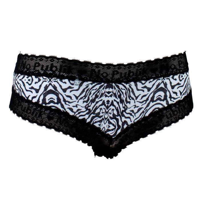 No Publik - Shorty Femme Dentelle Zebra Noir