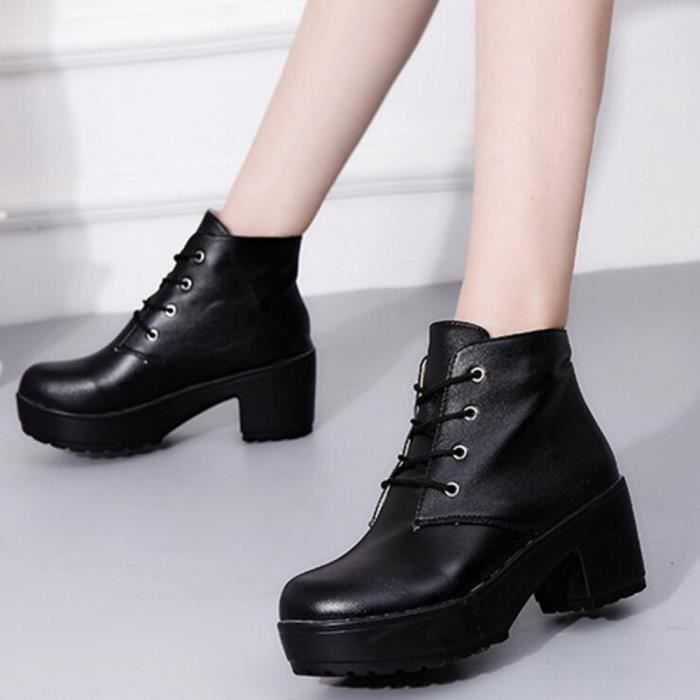 bottes pour femmes punk rough talon bottes d 39 hiver bottines chaudes chaussures d 39 hiver chaudes. Black Bedroom Furniture Sets. Home Design Ideas