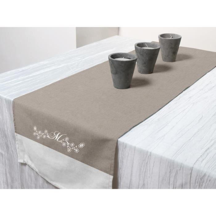 Chemin de table brod en coton melanie taupe achat for Set de table brode