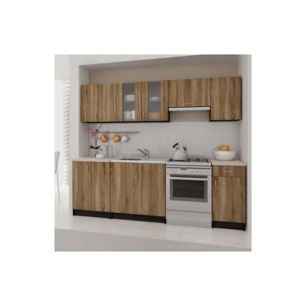 superbe meubles de cuisine en kit 2 4 m brun achat. Black Bedroom Furniture Sets. Home Design Ideas